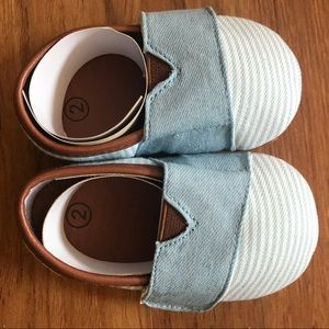 Denim baby loafers